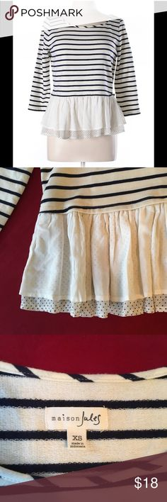 Adorable Striped Peplum Ruffle Hem Top Cute French look. Navy stripes and polka dots on second layer of ruffle.  3/4 sleeve. Bought the wrong size looks like it's never been worn. Happy Poshing! Maison Jules Tops