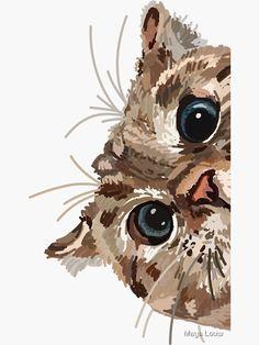 cat painting Peeking Cat Sticker by Maya Louw, Cat Painting, Watercolor Cat, Art Painting, Animal Art, Animal Drawings, Cute Art, Animal Paintings, Cat Stickers, Cat Drawing