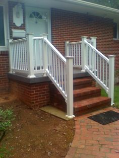 white railing on a concrete porch | Boling Front Porch Tile and Vinyl Railing Reddick Front Porch After