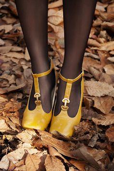 chaussures salomés jaune, automne
