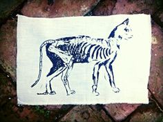 Cat Skeleton Patch // Back Patch // Punk Patch // by badbrainn, $10.00