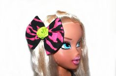 Zebra  Bow Hair Clip  Pinup Rockabilly Hair by MissSweetCheekz, $6.00