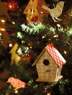 I love the birdhouses as ornaments.