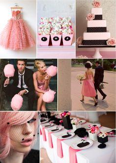 candy floss pink, classic black & polka dot wedding inspiration
