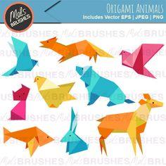 Origami Animals Vector Clipart Illustrations + Freebie