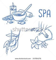 Icon item set wellness, spa, with massage hands, flowers, leafs and water, chocolate treatment, towel and candle. Hand drawn doodle vector illustration.