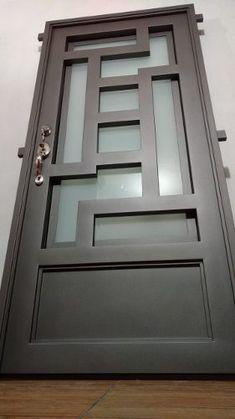 pattern using wood detailing on back door Balcony Grill Design, Window Grill Design, Steel Gate Design, Iron Gate Design, Main Door Design, Wooden Door Design, Steel Security Doors, Modern Door, Iron Doors