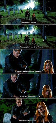Simon is one though cookie ...   (from the tv serie Shadowhunters) ... the mortal instruments, clarissa 'clary' fray, jace herondale, shadowhunters, katherine mcnamara, dominic sherwood