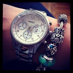 Fossil watch and Pandora bracelet, Photo by vive_la_mode • Instagram