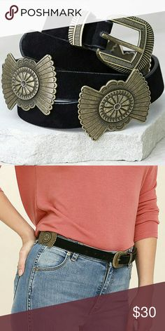 "western boho belt Vegan leather with bronze conchos. Belt measures 42"" with seven hole adjustments. Not from listed brand. I list items daily -- bundle to save Free People Other"