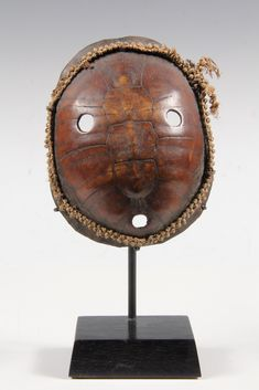 AFRICAN MASK - Lega People, Democratic Republic of Congo, 19th c. Miniature Turtle Shell Mask, Bwami Society, with fibre edgeing, on custom ...