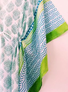 4c8d109d7c Long Cotton Kaftan- Long Beach Kaftan, Aqua Turqoise Lime Green Kaftan,  Block Printed Beach Cover Up, Beach Kaftan, Long Kaftan, Long Kimono