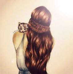 girl with braided hair and a cat drawing
