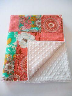 Minky Baby Girl Patchwork Blanket Quilt Joel by KristensCoverlets