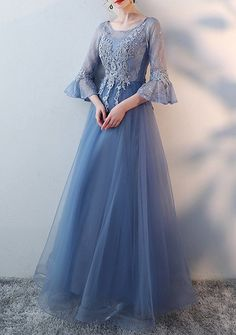 Bridesmaid Gowns Bridal wedding lace dress bridesmaid gown prom party custom made bell sleeve Prom Night Dress, Hijab Evening Dress, Night Dress For Women, Simple Dresses, Pretty Dresses, Couture Dresses, Fashion Dresses, Lace Bridesmaid Dresses, Lace Dresses