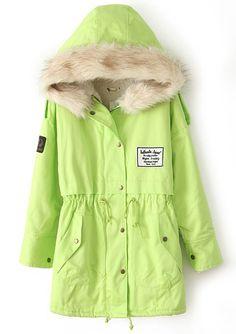 Abrigo militar con capucha cremallera vellón interior-Verde EUR€41.02