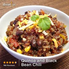 Qunioa and Black chili.... Everyone loved this dinner. You could even add a few more veggies- okra would be yum!