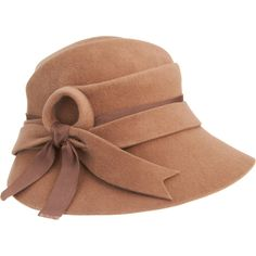 Cloche Hat by Brenda Lynn Adorned with matching wool and grosgrain ribbon detailing. Large Brim Hat, Types Of Hats, Love Hat, Cute Hats, Hats For Women, Camel, My Style, Cloche Hats, Retro Styles