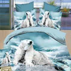 New Arrival White Polar Bear Print Bedding Sets 4 Piece Duvet Cover Sets