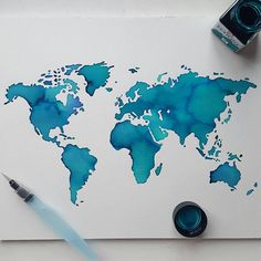 Watercolor worldmap digital download galaxy map etsy pinterest watercolor worldmap a3 print blue green gumiabroncs Image collections
