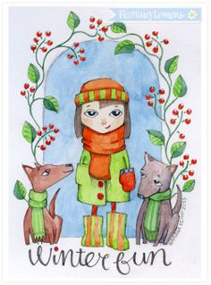 Watercolour: Winter Fun by Mariana :: Floating Lemons