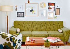 This vintage, green sofa is awesome. Get the Look: A First Home in Fargo on Etsy My Living Room, Home And Living, Cozy Living, Interior Exterior, Interior Design, Lounge, Retro Home, Mid Century Furniture, Vintage Decor