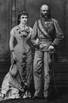 Real couple Franz Josef I and Empress Elisabeth of Austria. Celebrating the silver anniversary, 25 years of marriage.