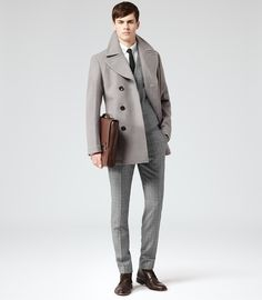 Just a grey pea coat and grey plaid dress pants. Complete your look with dark brown leather dress boots and the whole ensemble will come together brilliantly. Sports Coat And Jeans, Grey Pea Coat, Revival Clothing, Mens Silk Ties, Best Mens Fashion, Dress With Boots, Men Looks, Mens Clothing Styles, Stylish Men