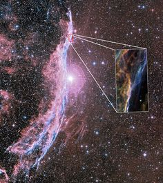 This image shows a small portion of the Veil Nebula known as the Witch's Broom Nebula. The highlighted portion is an image taken with the Wide Field and Planetary Camera 2 (WFPC2) on board the NASA/ESA Hubble Space Telescope. The colour is produced by composite of three different images. The different colours indicate emission from different kinds of atoms excited by the shock: blue shows oxygen, green shows sulphur, and red shows hydrogen. Credit: NASA, ESA, the Hubble Heritage