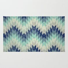 Chevron pattern_Blue Area & Throw Rug by Gal Ashkenazi