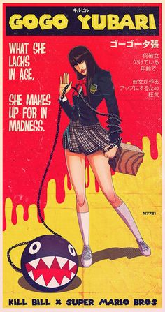 Gogo Yubari, played by Chiaki Kuriyama in Quentin Tarantino's Kill Bill, wielding a Chain Chomp from Super Mario Bros. Art by Marco D'Alfonso. Image Film, Comic Movies, Cult Movies, Indie Movies, Action Movies, Comic Books, Movie Poster Art, Comic Poster, Jolie Photo