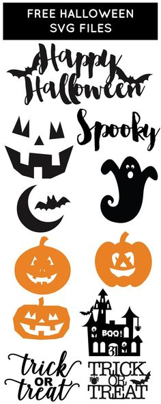 Get ready for Halloween with our Halloween SVG files. Use our svg cutting files to cut out scary ghosts, pumpkins and more for the perfect Halloween decor. Halloween Vinyl, Sac Halloween, Moldes Halloween, Adornos Halloween, Halloween Cards, Halloween Decorations, Free Halloween Font, Halloween Images Free, Halloween Signs