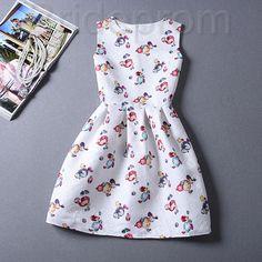 Short Retro Printing Patterns Women's Clothing Sleeveless Casual Dress YHD2-16 Size S M L XL on Luulla