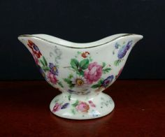 antique open sugar dish Erphila Czechoslovakia pottery chintz floral tea coffee #unknown