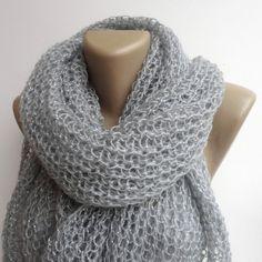 gray fashion scarf shawl  knitted women shawl by senoAccessory, $55.00