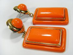 Vintage 80s Oversized Pierced Earrings Orange & by OrangeCheek, $7.00