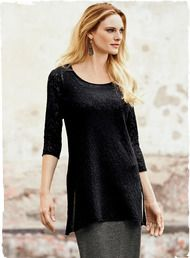 A romantic layer over skirts or skinny jeans, the felted lace tunic is knit of whisper-light baby alpaca (70%) and wool (30%). Full-fashioned with a scoop neck, ¾-sleeves and deep side vents.