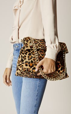 Karen Millen, REGENT SUEDE AND LEATHER BAG Leopard Print