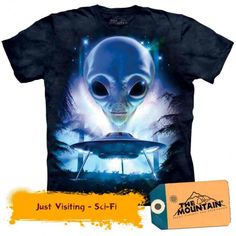 Just Visiting Grey Alien Planets Ufo Space The Mountain T Shirt Adult Sizes Lego T Shirt, Squad, Grey Alien, Alien Planet, Aliens And Ufos, Alien Art, Mountain Man, Herren T Shirt, Science Fiction