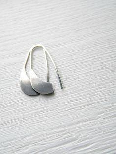 Ombre Industrial Silver Earrings  - handmade sterling silver organic look hoop earrings, black and white. $35.00, via Etsy.