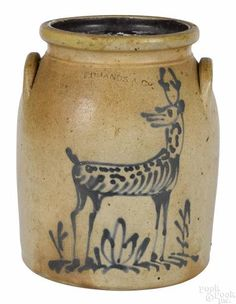 Charlestown, Massachusetts stoneware crock, 19th c., impressed Edmands & Co., with cobalt stag decoration, 9 3/8'' h. Provenance: Sotheby's, Impor