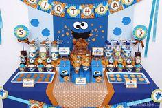 "Photo 4 of Cookies Street / Sesame Street / Birthday ""Cookies Street Birthday Party"" Baby 1st Birthday, First Birthday Parties, Birthday Party Themes, First Birthdays, Birthday Ideas, Elmo Party, Baby Party, Cookie Monster Party Supplies, Monster 1st Birthdays"