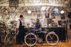 The Long Beach bike shop is located in a restored 1923 firehouse. Bicycle Cafe, Bicycle Shop, Bike Shops, Motorized Tricycle, Bicycle Stand, Cycle Parts, Model Shop, Vintage Country, Mountain Biking