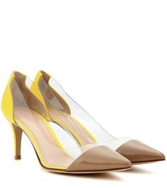 Plexi 70 light brown and yellow patent leather and transparent pumps