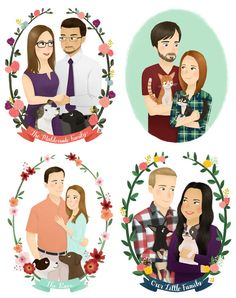 Custom Family Portrait Illustration with Pets by emkimothy on Etsy