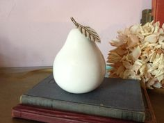 VINTAGE Look Creamy white Ceramic PEAR Home by AnnmarieFamilyTree