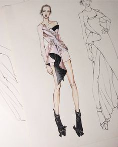 Fashion design sketches, fashion model sketch, designs to draw, fashion ill Fashion Model Sketch, Fashion Design Sketchbook, Fashion Design Drawings, Fashion Sketches, Moda Fashion, Fashion Art, Trendy Fashion, Dress Fashion, Style Fashion