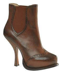 Another great find on #zulily! Leon Max Midbrown Adora Leather Bootie by Leon Max #zulilyfinds
