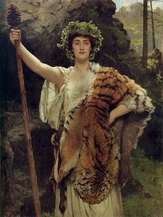 The Priestess of Bacchus (1889), by John Collier. Description from sophiaschildren.wordpress.com. I searched for this on bing.com/images