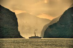 MV Funchal is dwarfed by the mountains around Aurlandsfjorden Funchal, Art Prints For Sale, Cruise Ships, Norway, Travel Photography, Europe, In This Moment, Fine Art, Mountains